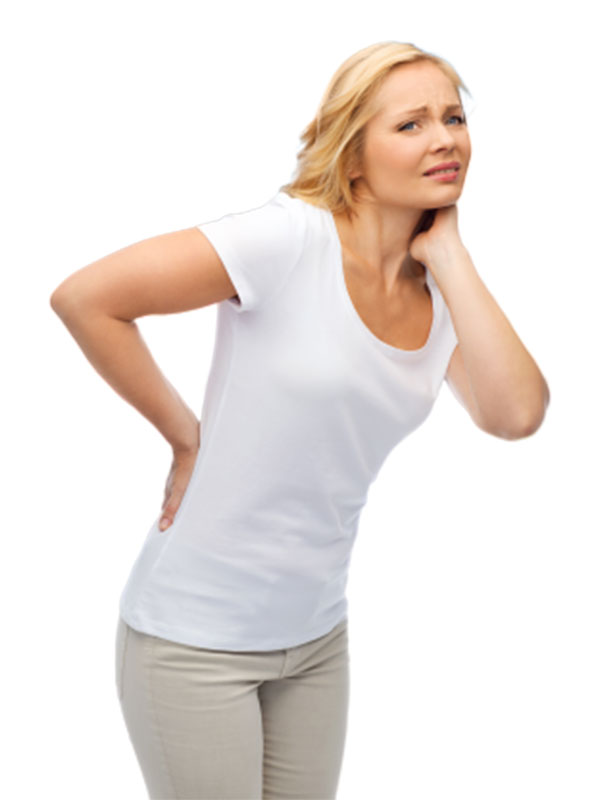 woman holding her sore back